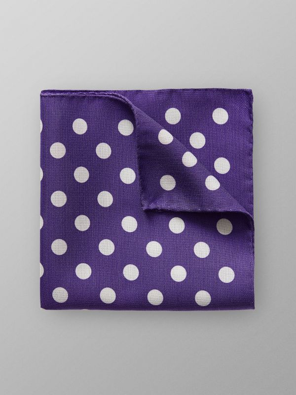Purple Dotted Linen & Silk Pocket Square