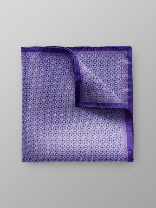 Purple Geometric Print Pocket Square