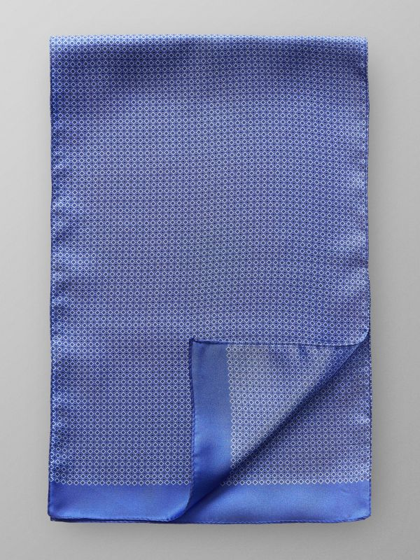 Blue Geometric Silk Scarf