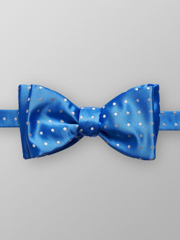 Light Blue Dotted Silk Bow Tie