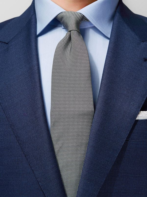 Grey Signature Dots Silk Tie