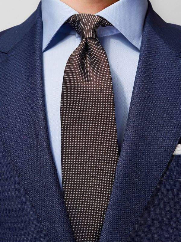Brown Signature Dots Silk Tie