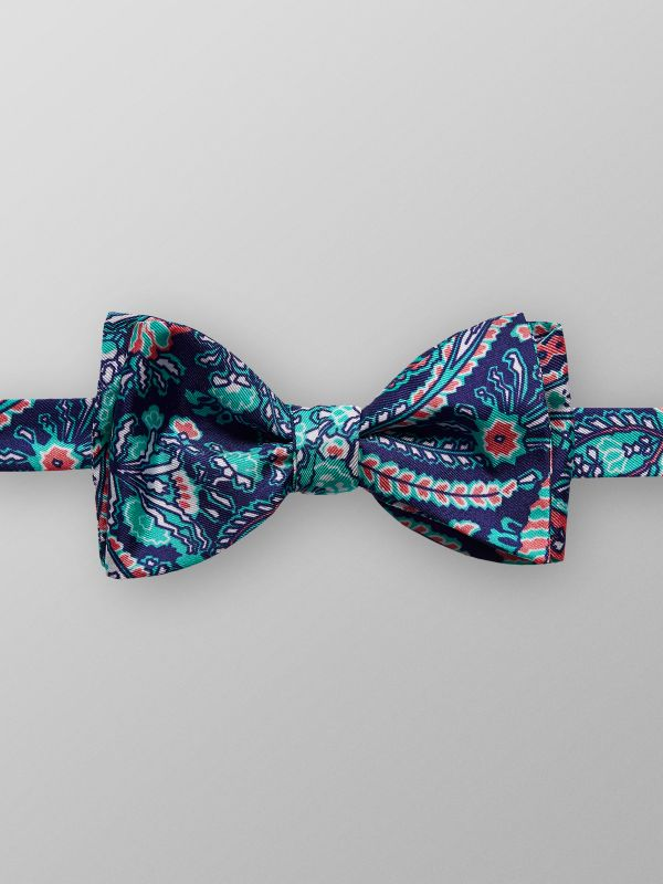 Navy & Green Paisley Bow Tie