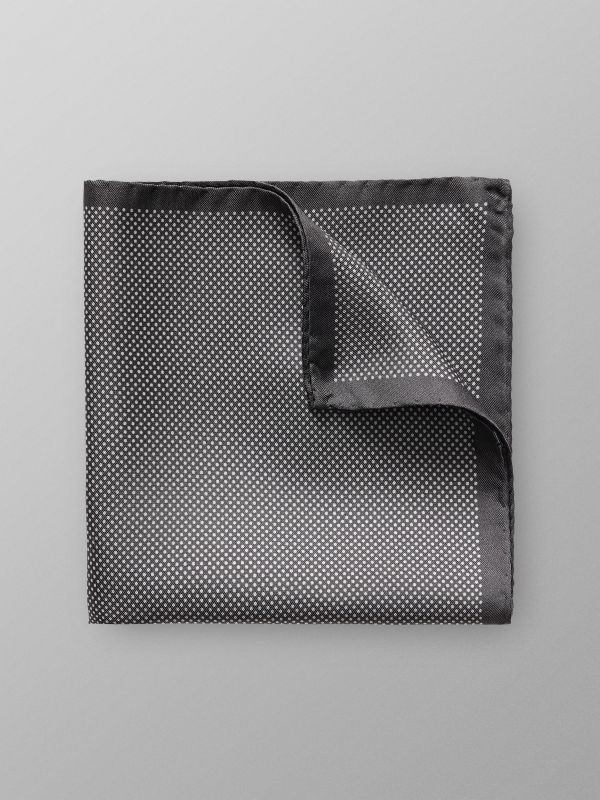 Grey Signature Dots Silk Pocket Square