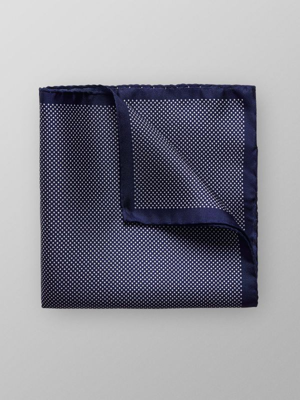 Navy Signature Dots Silk Pocket Square