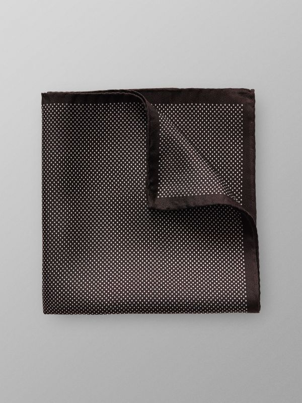 Brown Signature Dots Silk Pocket Square