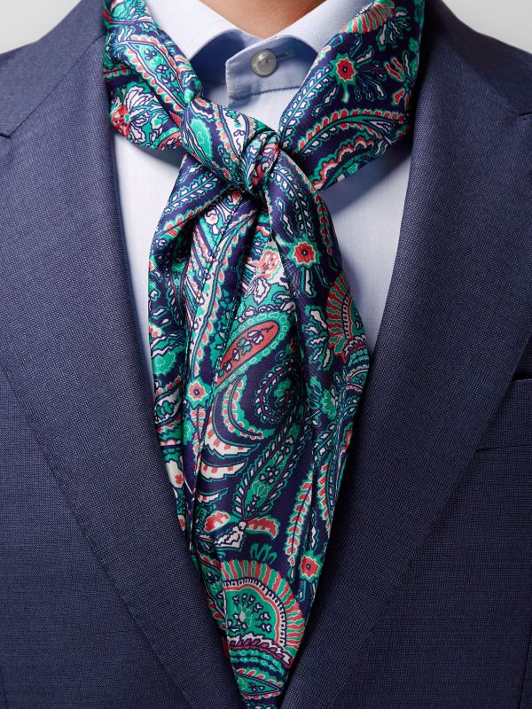 Navy & Green Paisley Silk Scarf