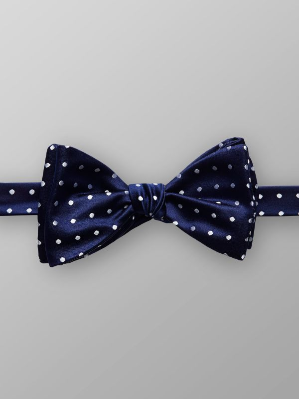 Blue Dotted Silk Bow Tie
