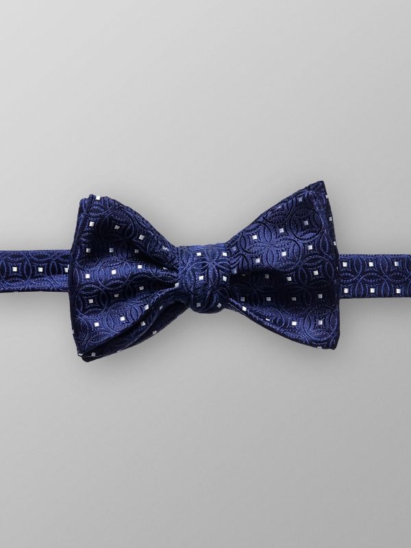 Blue Geometrical Silk Bowtie