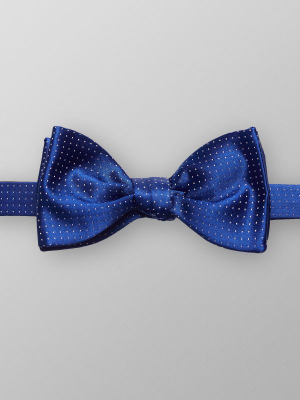Navy Dotted Silk Bowtie