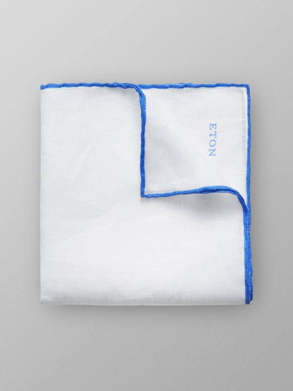 White & Light Blue Linen Pocket Square
