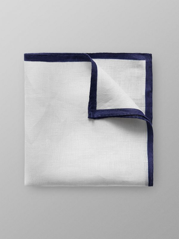 Navy Hem Linen Pocket Square