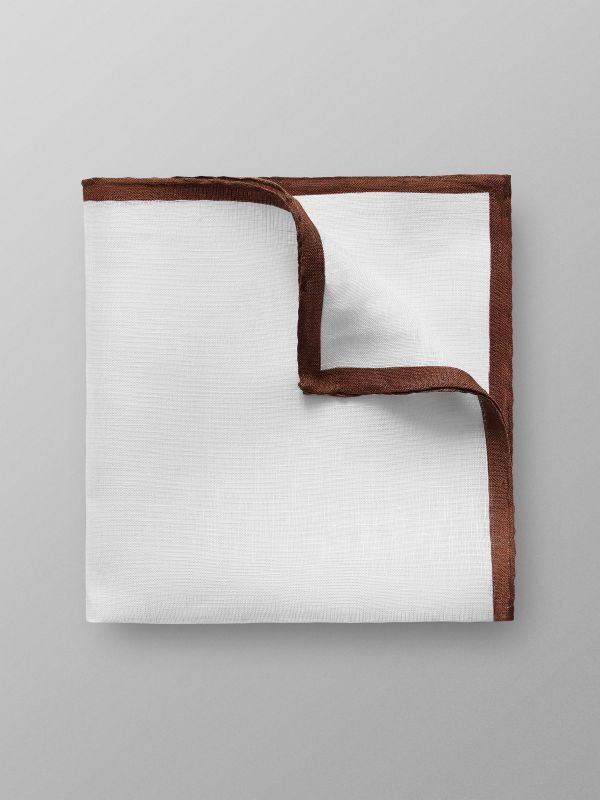 White & Brown Linen Pocket Square