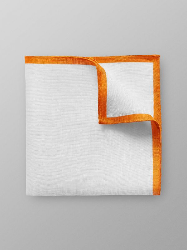 Orange Hem Linen Pocket Square