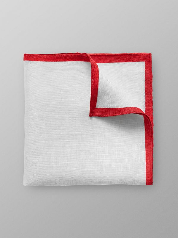 Red Hem Linen Pocket Square