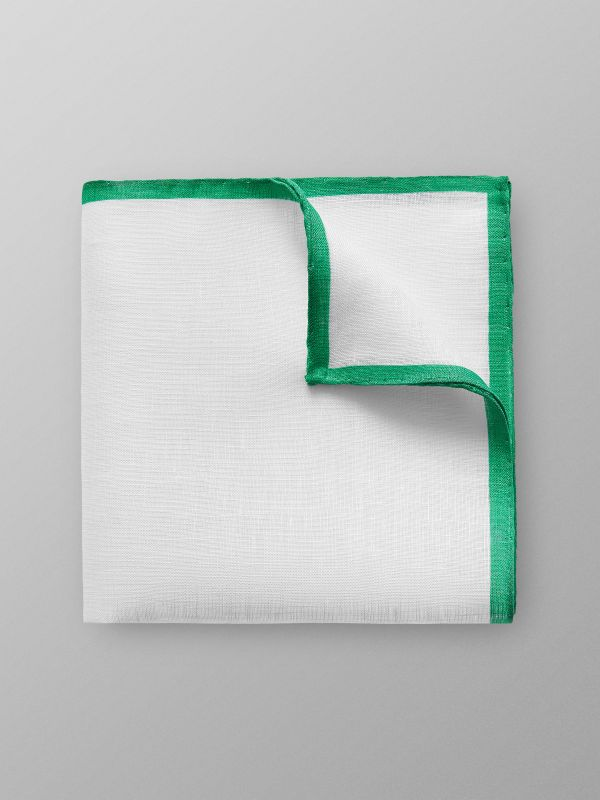 Green Hem Linen Pocket Square