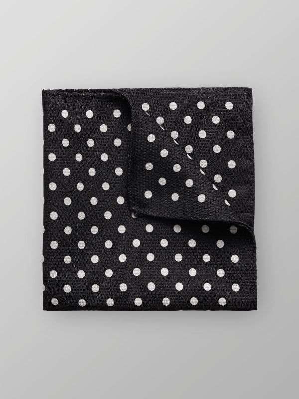 Black Dotted Silk Pocket Square
