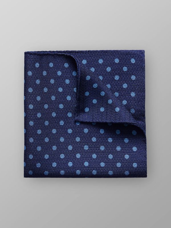 Blue Dotted Silk Pocket Square