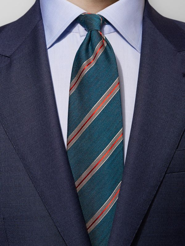 Green Striped Herringbone Tie