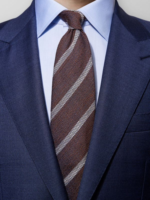Brown Unlined Striped Tie