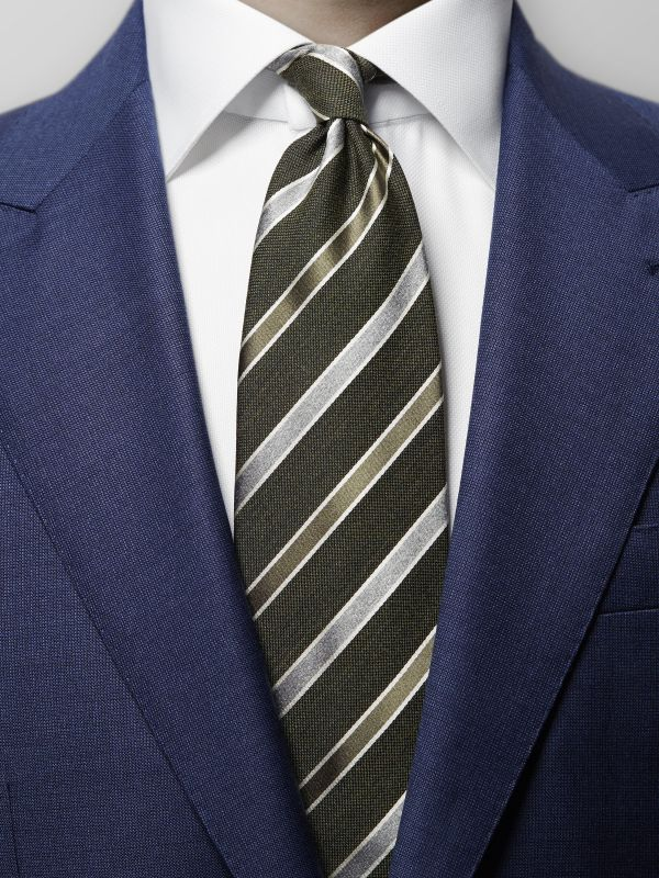 Green Striped Wool & Silk Tie
