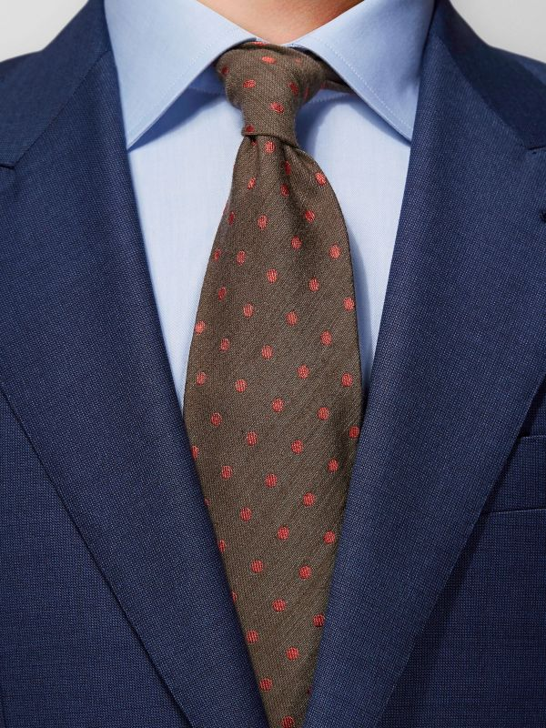 Brown Dotted Silk & Wool Tie