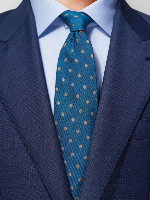 Blue Dotted Silk & Wool Tie