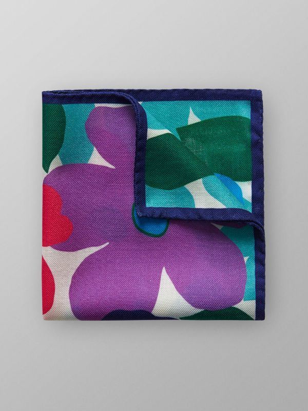 Floral Wool & Silk Pocket Square