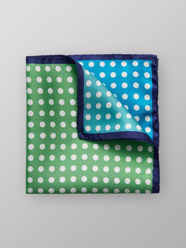 Green & Blue Dotted Silk Pocket Square