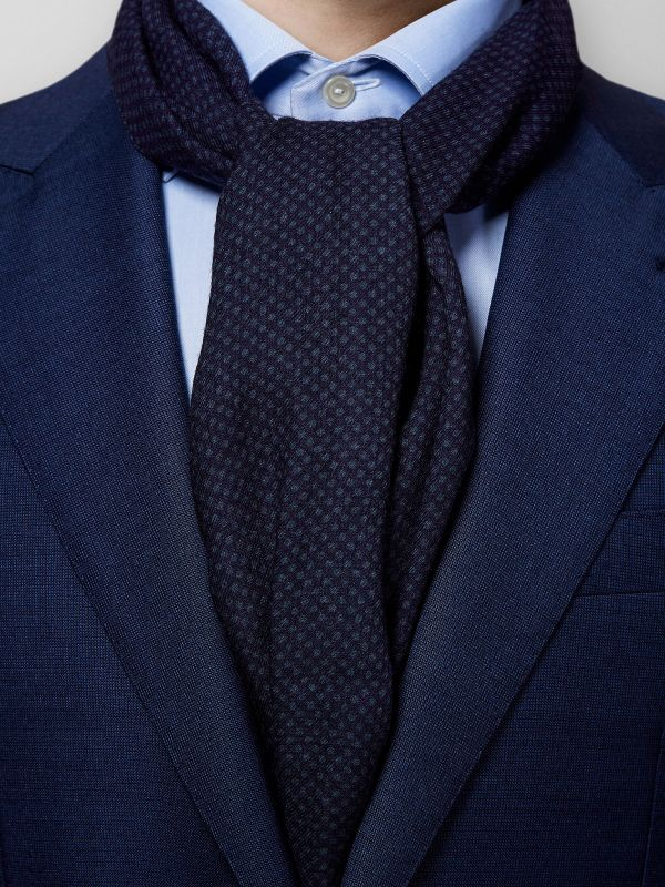 Navy Dotted Wool Scarf