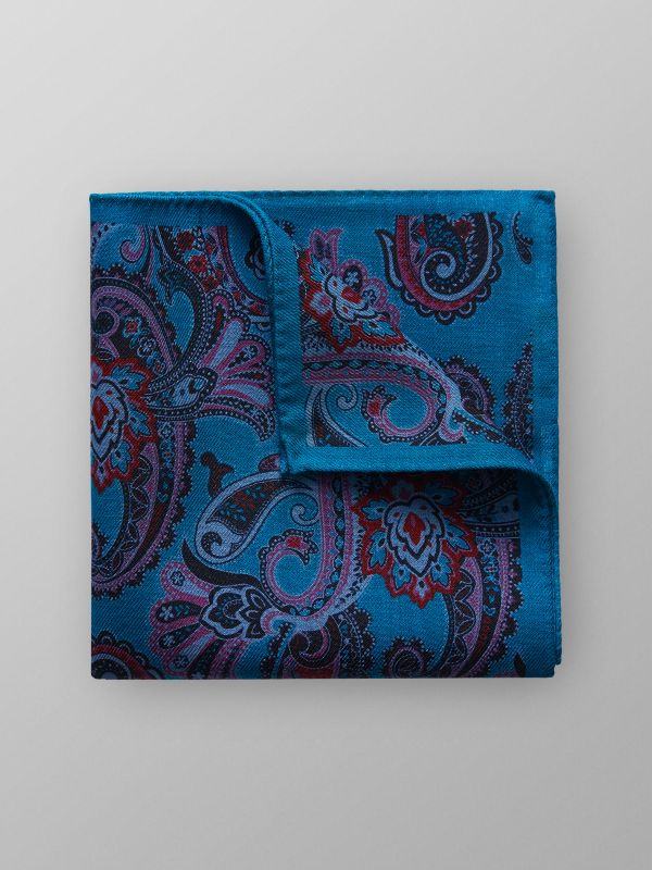 Blue Wool Paisley Pocket Square