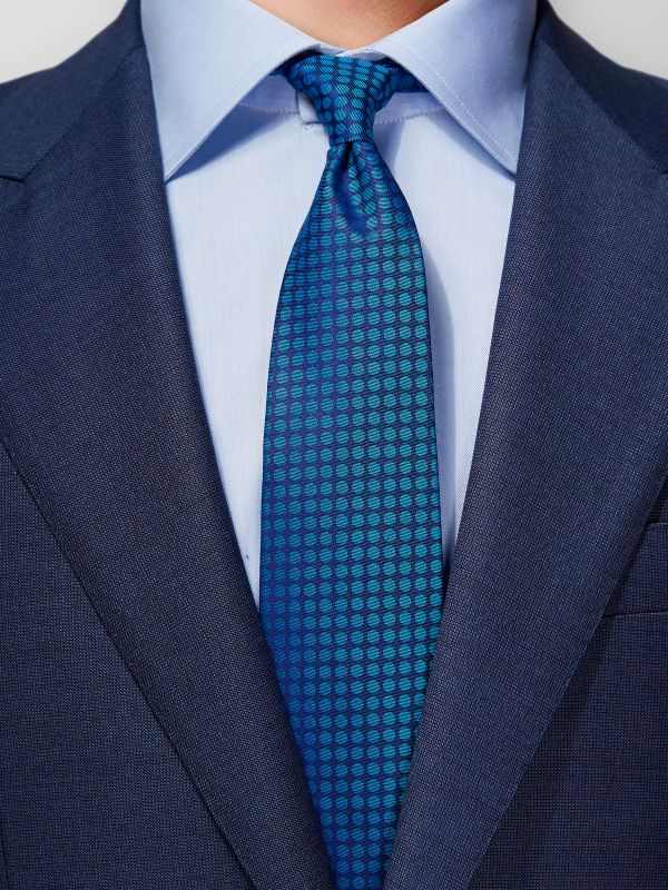 Blue Dotted 7-fold Cotton Tie