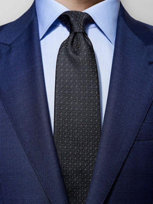 Black Geometrical Silk Tie