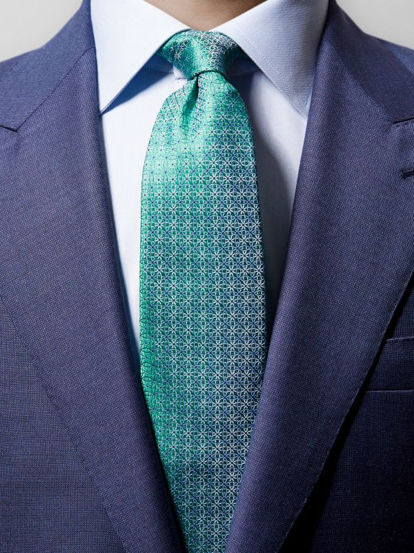 Green Geometrical Silk Tie