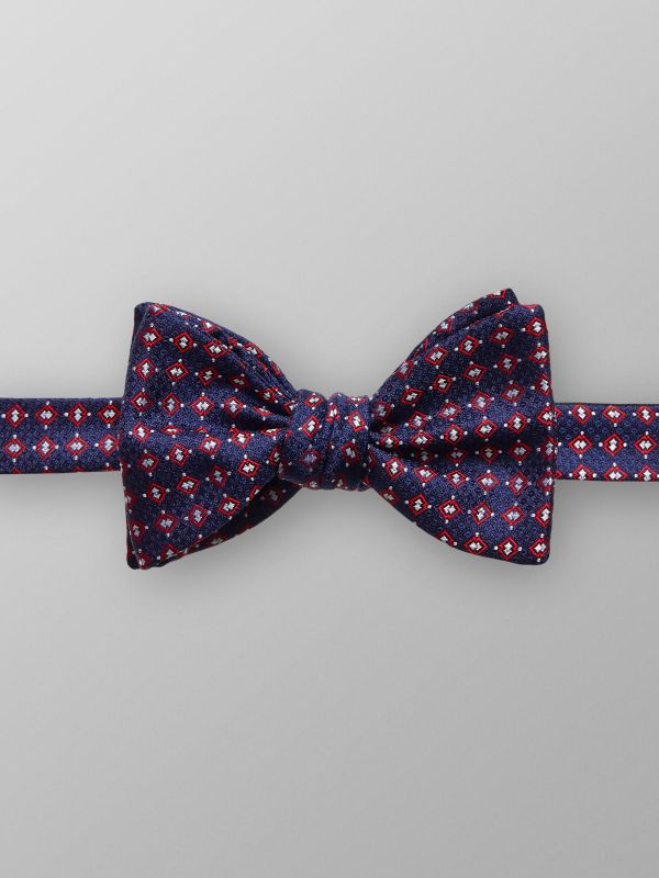 Navy & Red Geometric Bow Tie