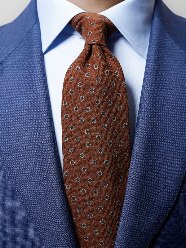 Brown Floral Wool Tie