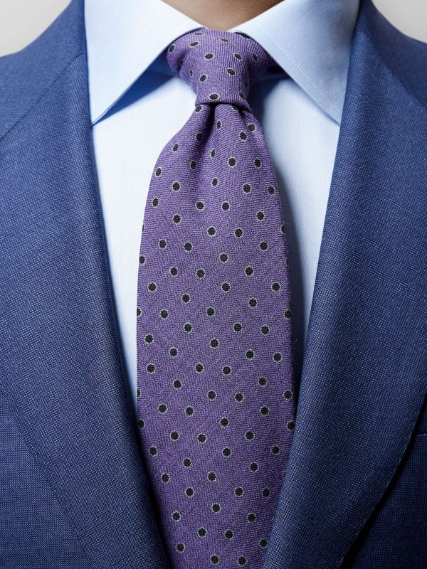 Purple Floral Wool Tie