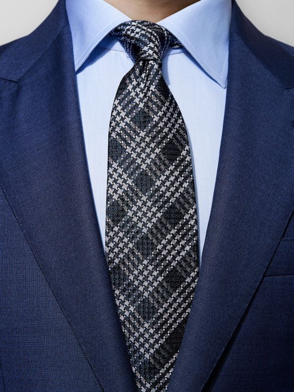 Grey Checked Silk Tie