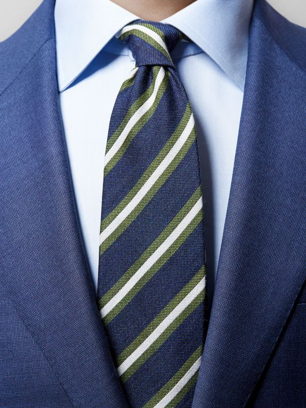 Navy Striped Wool & Silk Tie