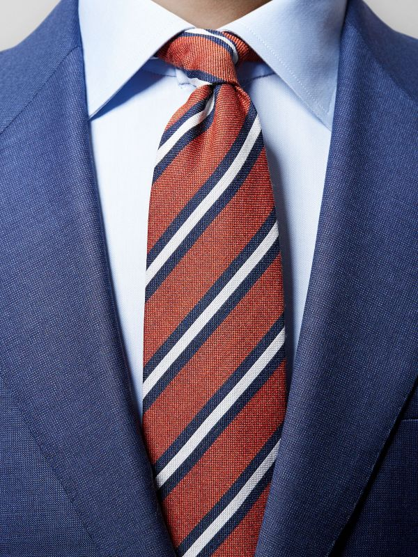 Orange Striped Wool & Silk Tie