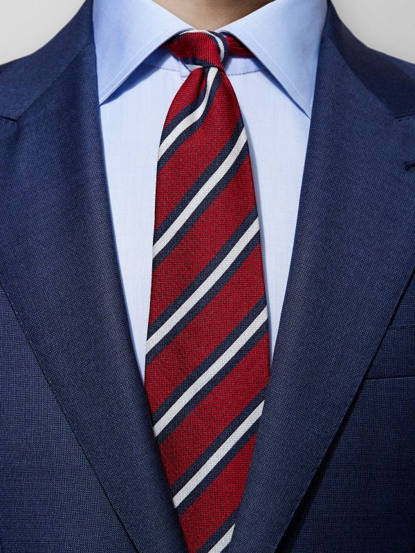Red Striped Wool & Silk Tie