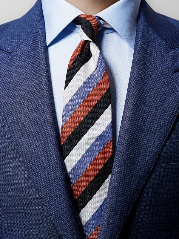Multicolour Striped Wool & Silk Tie