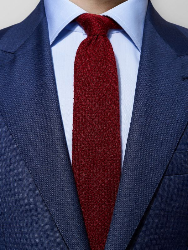 Red Knitted Silk & Cashmere Tie