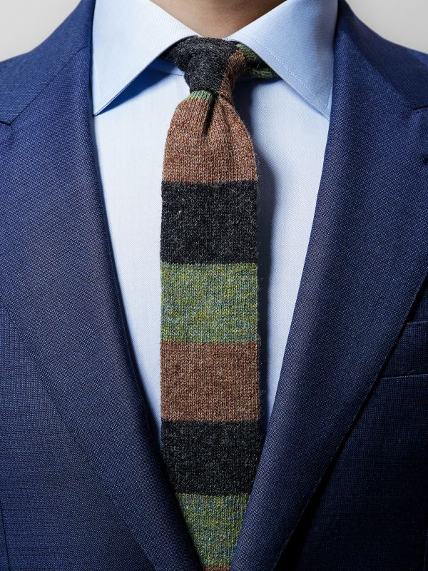 Green knitted Wool Tie