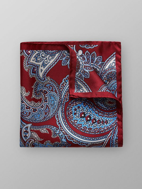 Red Paisley Silk Pocket Square