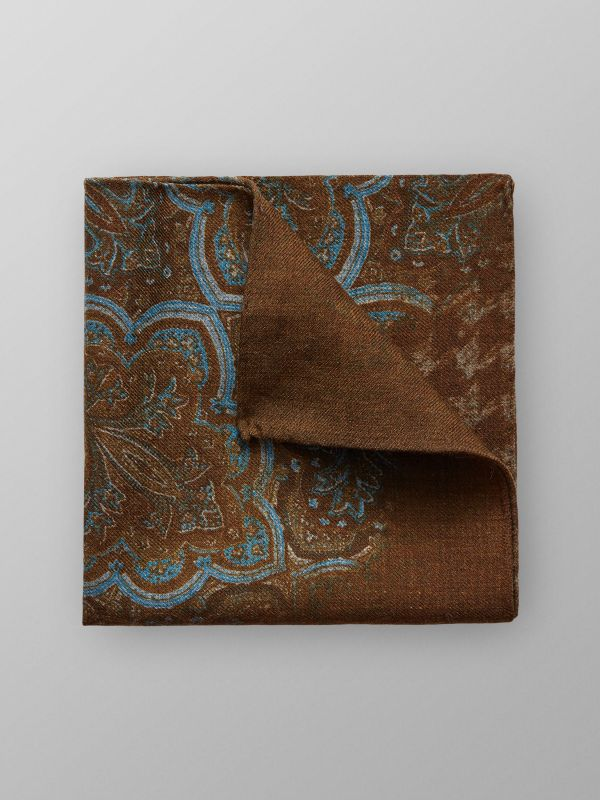 Brown Paisley Wool pocket Square
