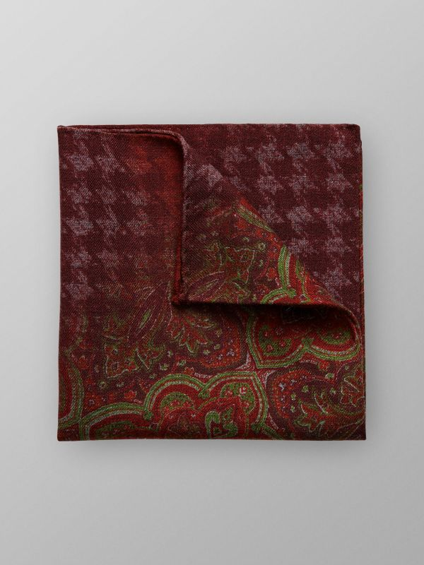Red Paisley Wool pocket Square