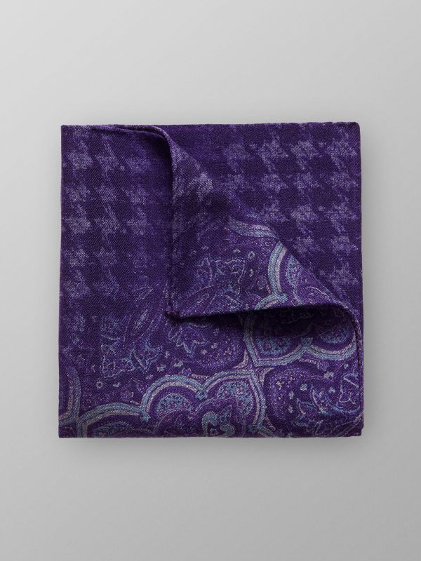Purple Paisley Wool Pocket Square