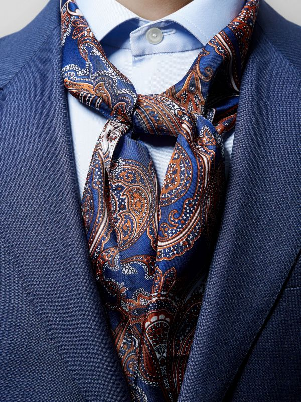 Navy & Orange Paisley Silk Scarf