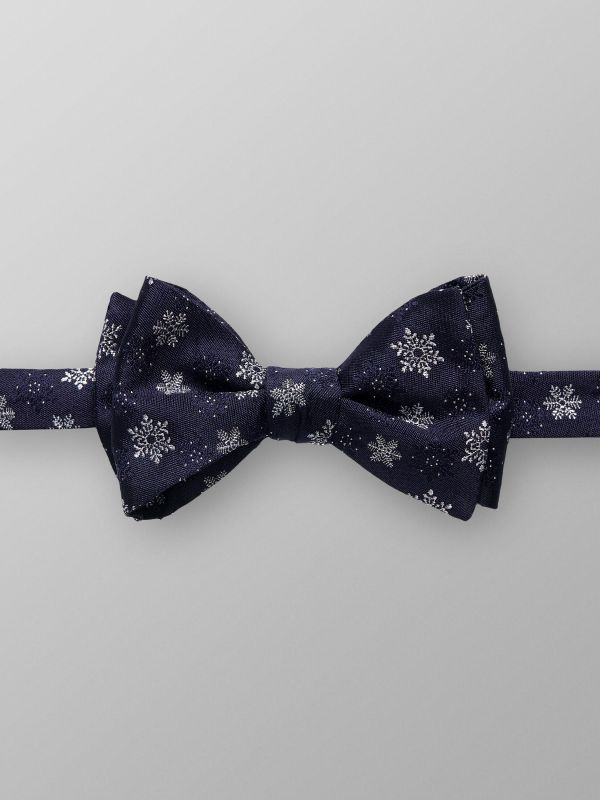 Navy Bowtie With Snowflake Motif